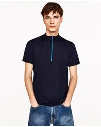 Zara | Blue High Neck Zipped Polo Shirt for Men | Lyst