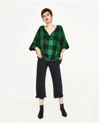 Zara | Green Checked Shirt | Lyst