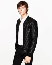 Zara | Black Faux Leather Quilted Bomber Jacket for Men | Lyst