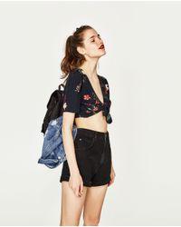 Zara | Black Crop Top With Knot | Lyst