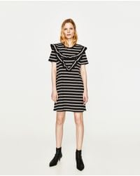 Zara | Black Dress With Front Frill | Lyst