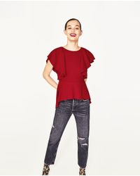 Zara | Red Frilled Top | Lyst