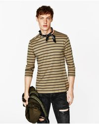 Zara | Natural Striped Top for Men | Lyst