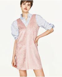 Zara | Pink Suede Effect Dress | Lyst