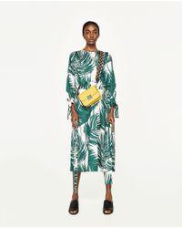 Zara | Green Printed Midi Dress | Lyst