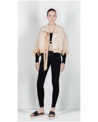 Zara | Natural Studio Cropped Bomber Jacket With Full Sleeves | Lyst