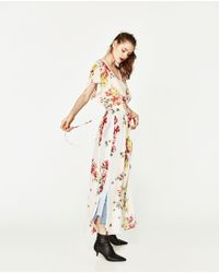 Zara | Multicolor Long Dress With Opening | Lyst