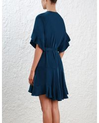 Zimmermann - Blue Sueded Flounce Dress - Lyst