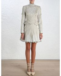 Zimmermann - Gray Master Adorn Military Skirt - Lyst