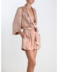 Zimmermann - Pink Wrap Silk Playsuit - Lyst
