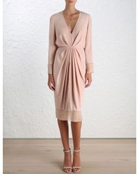 Zimmermann - Pink Ray Plunge Dress - Lyst