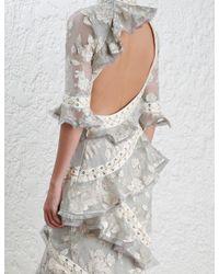 Zimmermann - Gray Stranded Embroidery Dress - Lyst