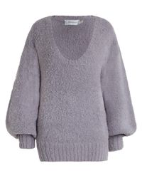 Zimmermann | Gray Stranded Fluffy Knit Sweater | Lyst