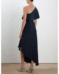 Zimmermann - Blue Sueded One Shoulder Long Dress - Lyst