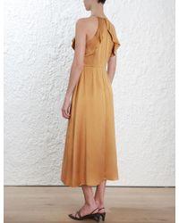 Zimmermann - Multicolor Ruffle Midi Dress - Lyst