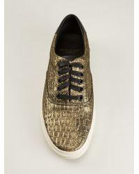 Saint Laurent Crocodile Embossed Sneakers - Lyst