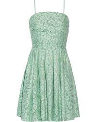 Moschino Cheap & Chic Gathered Cotton-blend Lace Mini Dress - Lyst