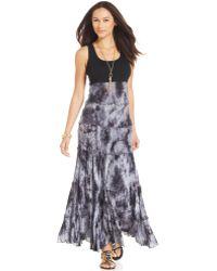 Karen Kane Sleeveless Tie-Dyed Maxi Dress black - Lyst