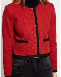 Ganni - Jacket with Contrast Buttons and Piping - Lyst