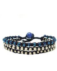Aeravida - Blue Crystal-silver Beads Chic Medley Three Strand Bracelet - Lyst