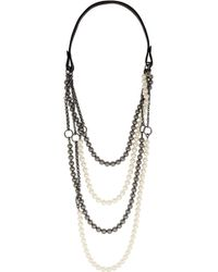 Vickisarge | Chain Reaction Gunmetal-Plated, Swarovski Pearl And Leather Necklace | Lyst