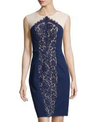 Donna Morgan Lace-Inset Chiffon Dress - Lyst