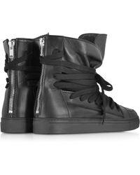 Kris Van Assche - High Top Black Leather Sneaker - Lyst