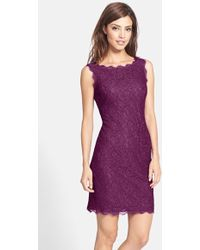 Adrianna Papell Boatneck Lace Sheath Dress purple - Lyst