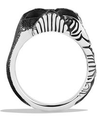 David Yurman Waves Large Skull Ring with Black Diamonds - Lyst