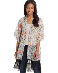 Steve Madden - Aztec Scallop Kimono Cover Up - Lyst