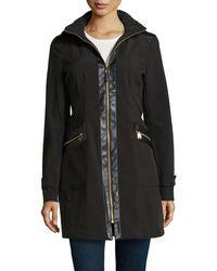 Via Spiga Hooded Zip Front Coat - Lyst