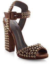 Giuseppe Zanotti Studded Suede Platform Sandals - Lyst
