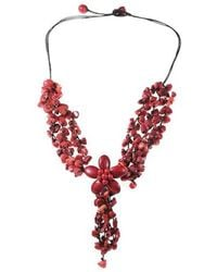 Aeravida - Adorable Red Coral Stone Flower Cluster Rain Necklace - Lyst