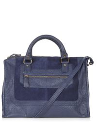 Topshop Womens Contrast Suede and Leather Holdall  Navy Blue - Lyst