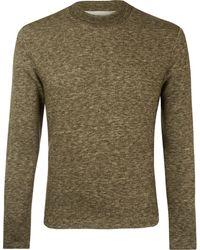 Norse Projects - Khaki Runa Rib Neck Wool-blend Sweatshirt - Lyst