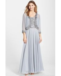 J Kara Beaded Chiffon Gown With Jacket - Lyst
