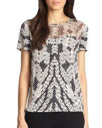 Diane von Furstenberg Angela Mixed-Media Silk T-Shirt - Lyst