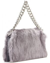 Alexander McQueen Folded Rabbit Fur Clutch - Lyst
