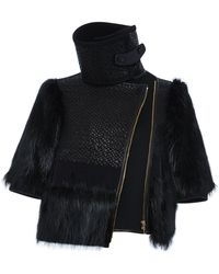 Ferragamo Basket Weave Leather Jacket with Fur Trim - Lyst