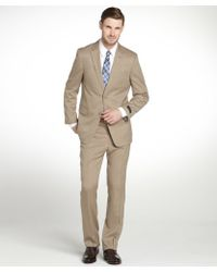Tommy Hilfiger Tan Striped Single Breasted Suit with Flat Front Pants - Lyst