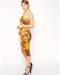 Asos Premium Scuba Bandeau Midi Dress with Peplum - Lyst