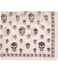 Alexander McQueen Pink And Black Chiffon Skull Scarf - Lyst