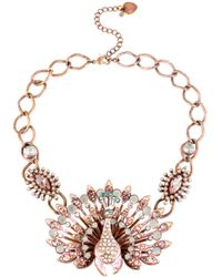 Betsey Johnson - Pink-Tone Patina Peacock Necklace - Lyst
