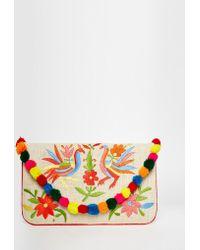 Moyna - Embroidered Jute Clutch With Pom Pom Trim - Lyst