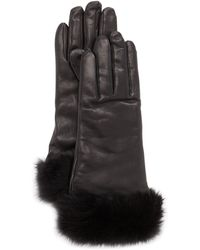 Grandoe - Furcuffed Leather Gloves Black - Lyst