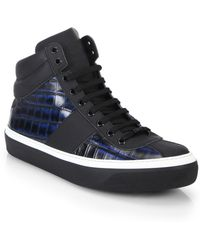 Jimmy Choo Belgravi Croc-Printed Leather High-Top Sneakers - Lyst