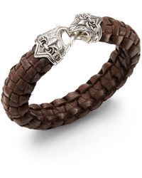 Scott Kay - Guardian Leather  Sterling Silver Basket-weave Bracelet - Lyst