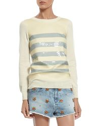 Gucci Cashmere Sweater With Striped Sequin Embroidery - Lyst