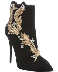 Giuseppe Zanotti Black Suede 'Yvette' Crystal And Leaf Embellished Stiletto Booties - Lyst