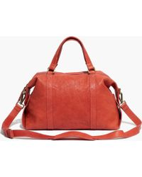Madewell The Glasgow Satchel In Washed Leather - Lyst